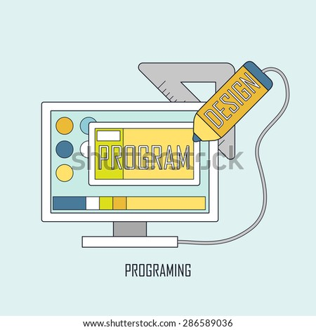 programmer workflow for web coding in thin line style - stock vector