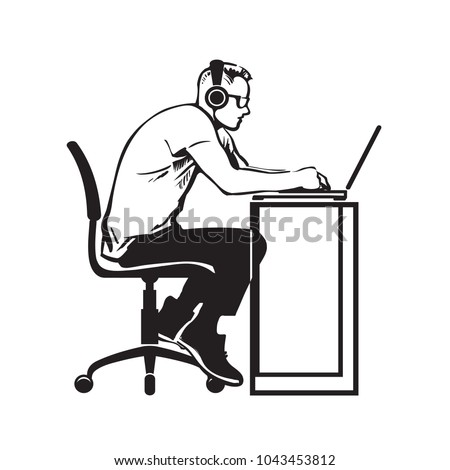Programmer working at computer. Teenager  in headphones sitting stooping at laptop. Hand drawn vector illustration isolated on white background.