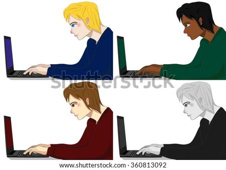 Programmer Working Man Vector Illustration - stock vector