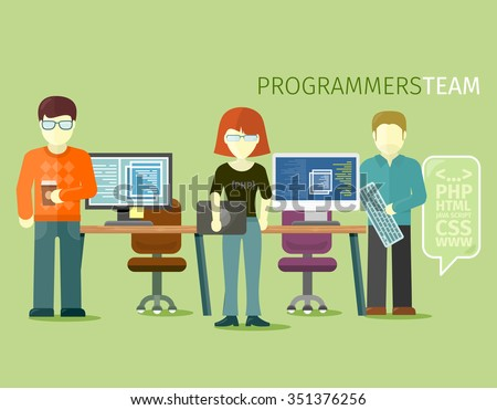 Programmers team people group flat style. Programming and computer programmer, development and code, computer and programming code, internet web, coding technology illustration - stock vector