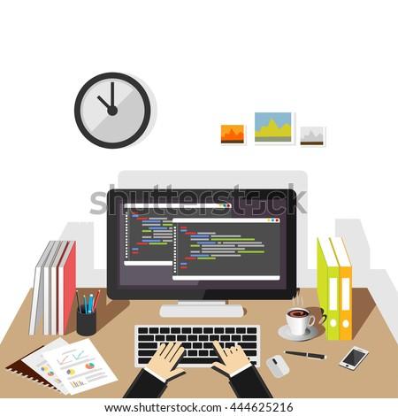 Programming and coding, website development, web design, software development. - stock vector