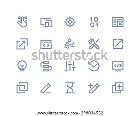 Programming and developer icons. Line series - stock vector