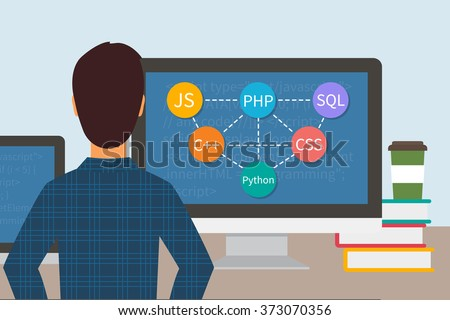Programming code. Web software developer. Programmer and monitors with computer languages. Flat vector - stock vector
