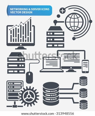 Programming,Networking and database server icon set design,clean vector - stock vector