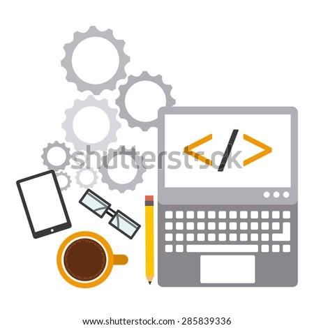 programming software design, vector illustration eps10 graphic  - stock vector