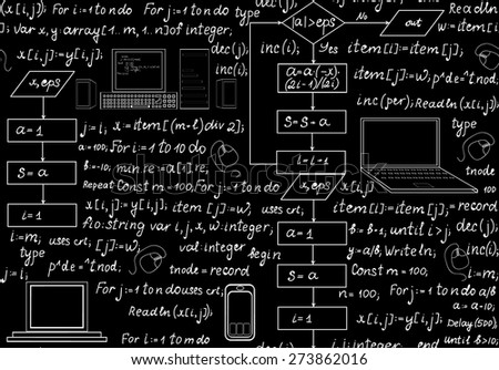 Programming technical seamless pattern with programming code, program flow diagrams, formulas, technical devices and schemes. Endless computer texture. You can use any color of background - stock vector