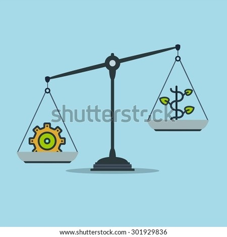 Progress and prosperity on scales, business success - stock vector