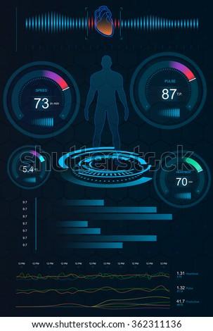 Hud Ui Medical App Futuristic User Stock Vector 370109732 ...