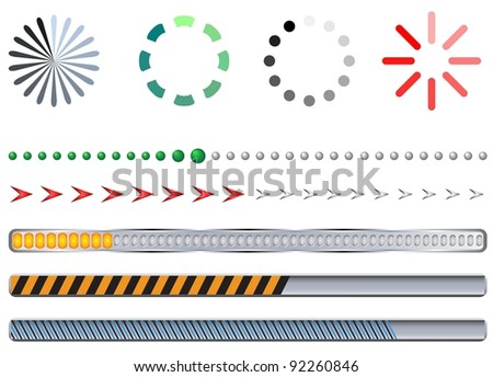 Progress bar set in different forms and colors - stock vector