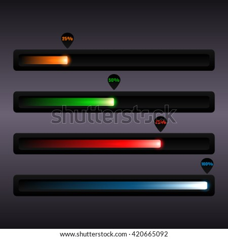 Progress bar web elements and indicators of progress load interface. color page. Vector progress template symbol loading strips. - stock vector