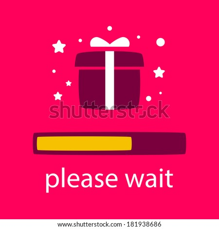 progress bar with a gift box. waiting for gift box. - stock vector
