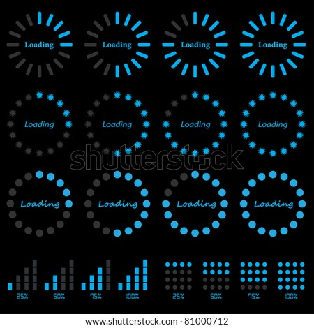 progress indicators - stock vector
