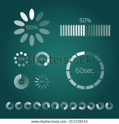Progress loading bar. Set of indicators. Download progress, web design template, interface upload. Vector illustration. - stock vector