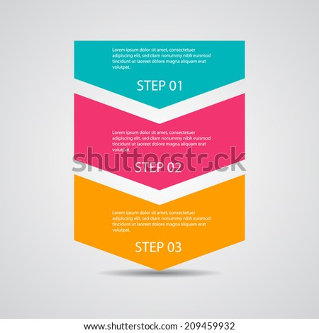 Progress steps template, for tutorial steps. - stock vector