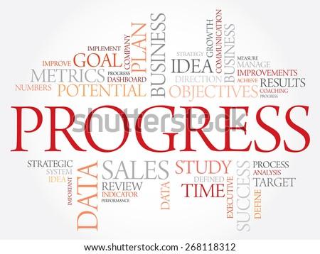 Progress word cloud, business concept - stock vector