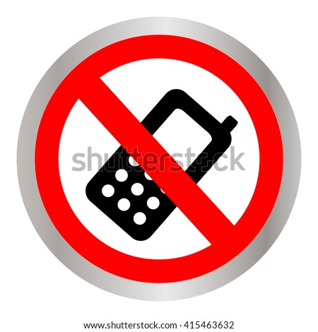 Prohibited Circle Silver Metallic Turn Off Mobile Phone Sign Isolated on White Background - stock vector