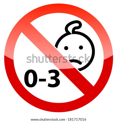Prohibited from using children under three years icon. Vector illustration - stock vector