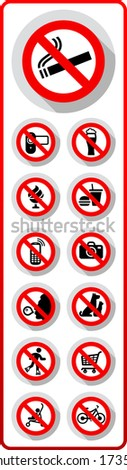 Prohibited symbols, Paper sticky label for supermarkets - stock vector