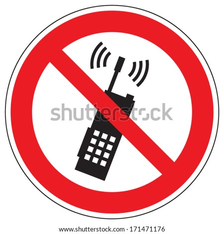 Prohibited use a mobile phone or portable radio - stock vector