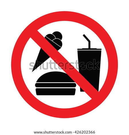 Prohibiting sign for food. No food allowed sign. Vector illustration