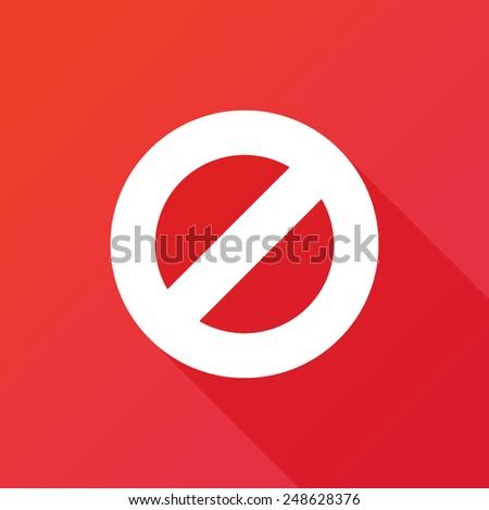 Prohibition Icon. Long shadow - stock vector