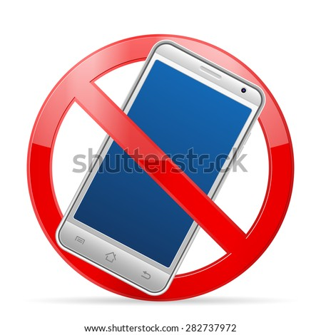 Prohibition mobile phone symbol on a white background.