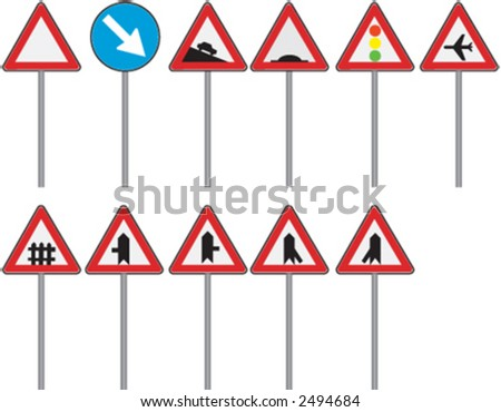 Prohibition road signs in vector format - stock vector