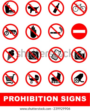 PROHIBITION SIGN - stock vector
