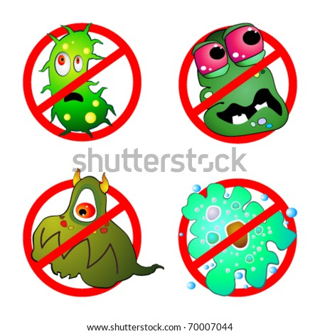 Prohibition sign and germ - stock vector