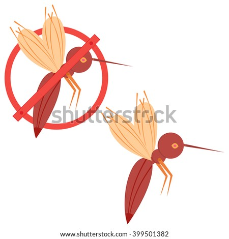 Prohibition sign, stop mosquito. Pest control. To design the packaging of goods, icons and other purposes. Vector illustration isolate on a white background. - stock vector