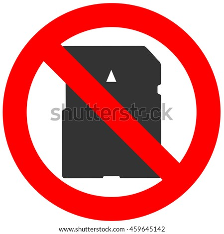 Prohibition sign with memory card icon isolated on white background. Memory card is forbidden vector illustration. Using memory card is not allowed image. Memory cards are banned.