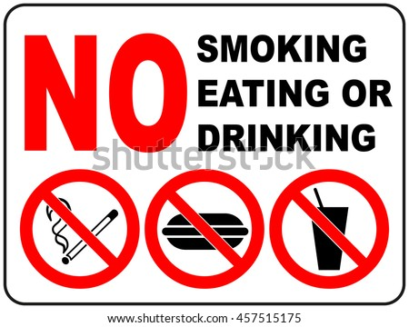 Prohibition signs for smoking eating and drinking general prohibition symbol sticker for public places vector