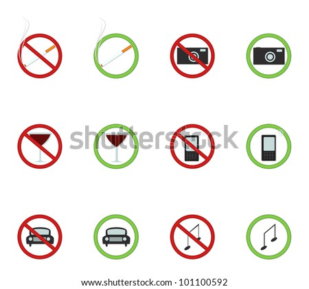 Prohibition signs isolated on white - stock vector