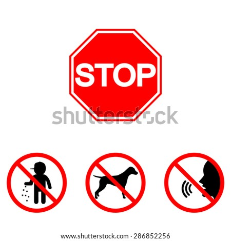 Prohibition signs, set vector illustration:  shouting, noise, smoke, litter, garbage. Vector illustration of Stop. Can be used for institutions, public places - stock vector