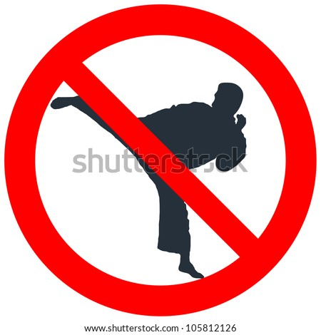 Prohibitory road sign with asian boxer