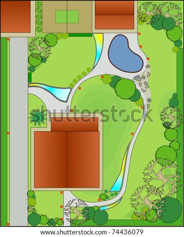 Project and landscaping. Landscape Design - stock vector