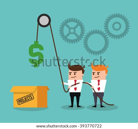 Project and Strategy design, businessman cartoon concept - stock vector