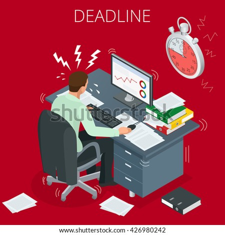 Project deadline. Concept of overworked man. 3d vector isometric illustration - stock vector