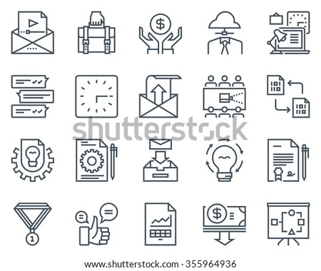 Project development icon set suitable for info graphics, websites and print media. Black and white flat line icons. - stock vector