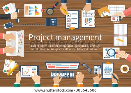 Project management concept. Business team work on projects. Brainstorming. Business meeting, planning strategy, analysis, marketing research, financial management.  Flat design, vector. - stock vector