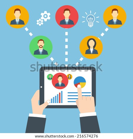 Project management concept. Remote business. Businessman holding a tablet. - stock vector