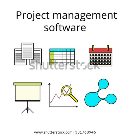 Project management software icons set in colored line style - stock vector