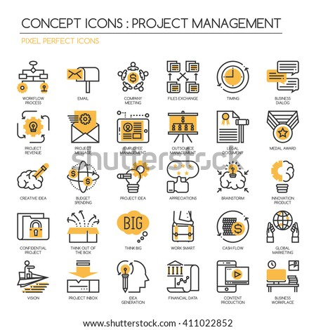 Project management , thin line icons set ,Pixel Perfect Icons - stock vector