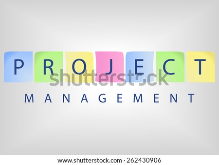 Project management title with colorful notes on white board - stock vector