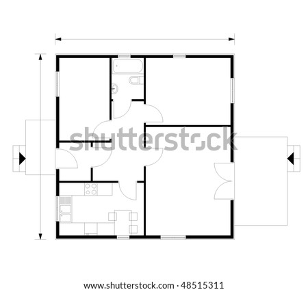 project of house in black-and-white color - stock vector