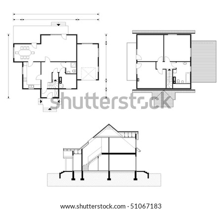 project of house in black-and-white color. facade, ground floor, garret - stock vector