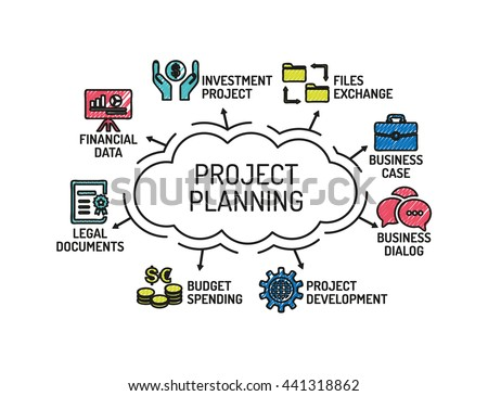 Project Planning Chart Keywords Icons Sketch Stock Vector