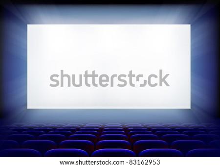 Projection screen in cinema. Vector illustration. - stock vector