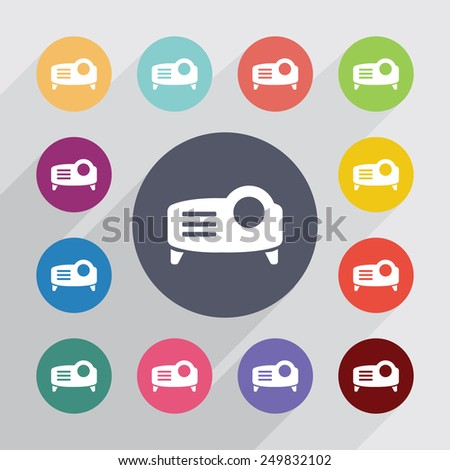 projector circle, flat icons set. Round colorful buttons  - stock vector