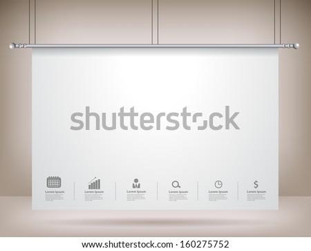 Projector screen on wall, Vector illustration template modern design - stock vector